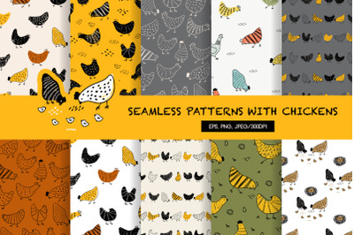 Vintage seamless pattern with Easter chickens