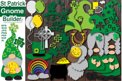 St Patrick Day Gnome Builder Layered Design Clipart Set