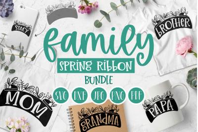 Family Spring Ribbon Botanical bundle   Spring SVG cut file