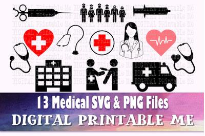 Nurse SVG Bundle, PNG files, medical doctor, health silhouette, graphi