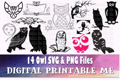Owl Silhouette bundle, SVG pack, PNG clip art, 14 Images, Instant Down
