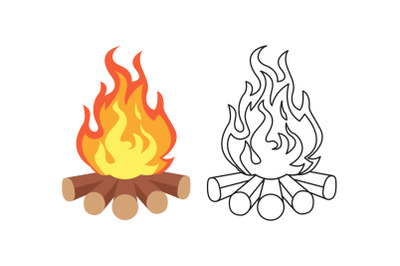 Camping Bonfire Fill Outline Icon