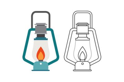Camping Oil Lamp Fill Outline Icon