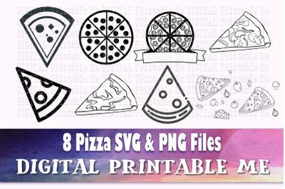 Pizza svg, food silhouette bundle, PNG, clip art, 8 Digital, fast food
