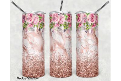 Pink Glitter 30oz Skinny Tumbler Design Sublimation PNG