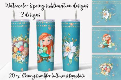 Spring sublimation design. Skinny tumbler wrap design.