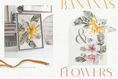 Boho Tropical Floral Banana Clipart
