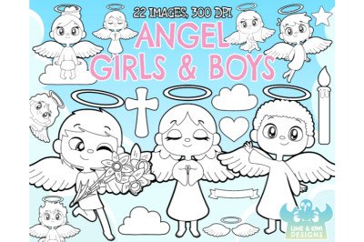 Angel Girls and Boys Digital Stamps - Lime and Kiwi Designs