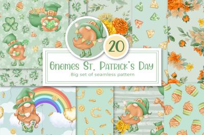 Gnome St. Patrick's Day Set of seamless patterns