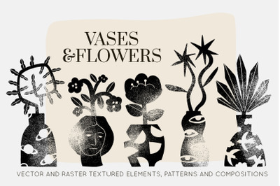 GRUNGE VASES&FLOWERS SILHOUETTES