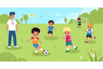 Children soccer. Kids play football in park, boys sport team workout w