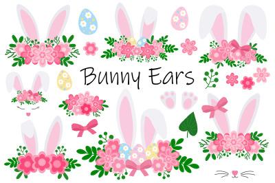 Easter Bunny ears. Bunny Face. Easter eggs. Bunny SVG