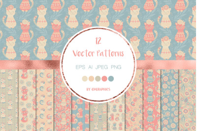 Colorful Cats and Flowers Patterns Vector Patterns