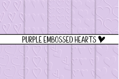Purple Embossed Hearts