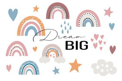 Dream Big Baby Rainbow SVG set