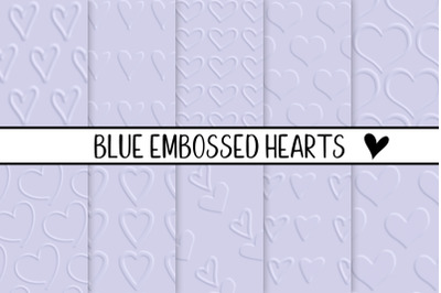 Blue Embossed Hearts
