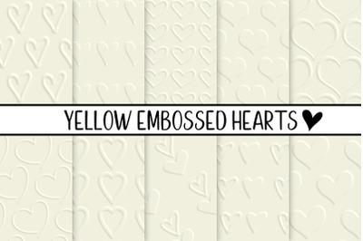 Yellow Embossed Hearts