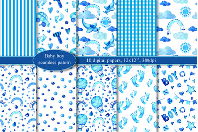 Baby boy digital paper, watercolor seamless pattern, Baby shower, Cute