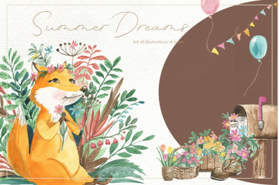 Set of illustrations of foxes