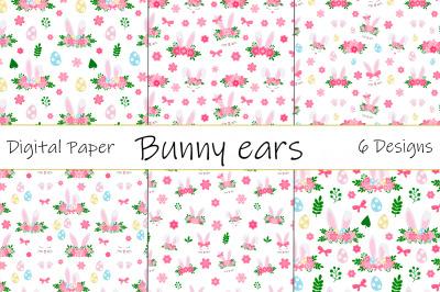 Easter Bunny ears pattern. Bunny Face pattern. Bunny SVG