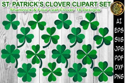 St Patrick Shamrock Four Leaf Clover Clip Art Set