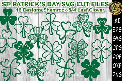 St Patrick Day Shamrock 4Leaf Clover SVG Cutting Files