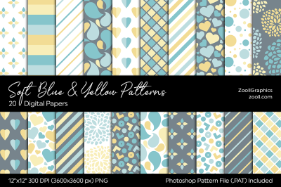Soft Blue And Yellow Digital Papers