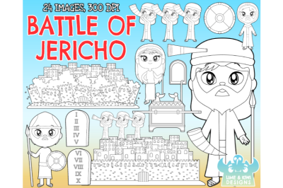 Joshua and the Battle of Jericho Digital Stamps - Lime and Kiwi Design