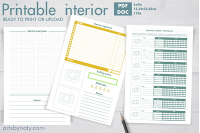 Jewelry crafter planner and inventory.Printable planner.