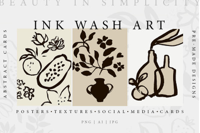 Abstract Ink Wash Floral Posters