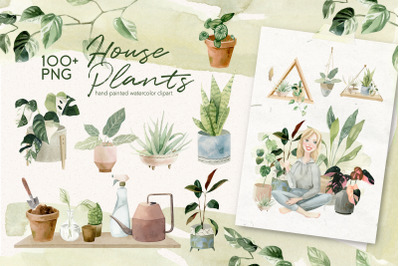 Cosy House Plants Watercolor Illustrations