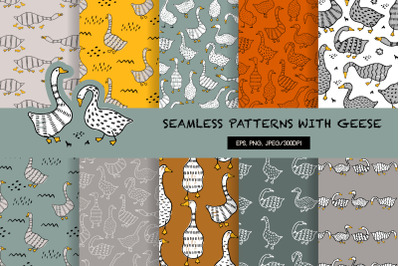 Seamless patterns with geese