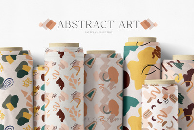 Abstract Seamless Patterns Organic Shapes Lines Paper Pack