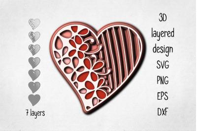 3D layered heart svg