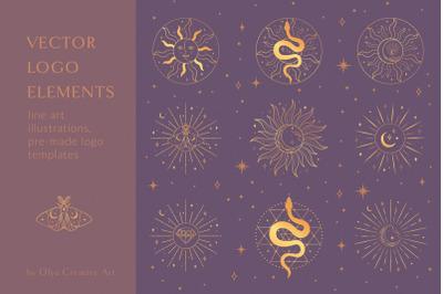 Golden Sacred Sun Logo Designs. Esoteric, mystic. Moon, stars, frames.