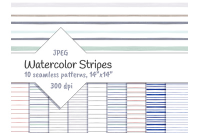 Watercolor Horizontal Stripes Digital
