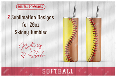 2 Softball / Wooden bat Patterns for 20oz SKINNY TUMBLER.