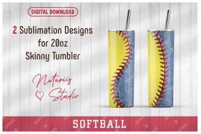 2 Softball / Denim Patterns for 20oz SKINNY TUMBLER.
