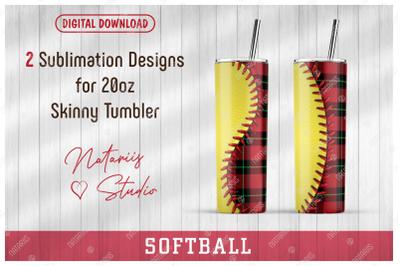 2 Softball / Buffalo Plaid Patterns for 20oz SKINNY TUMBLER.