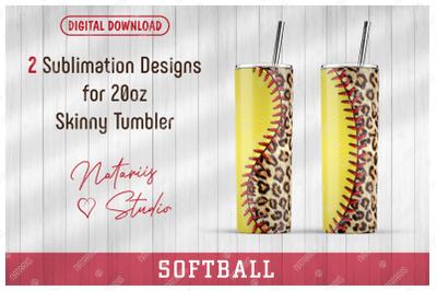 2 Softball / Leopard print Patterns for 20oz SKINNY TUMBLER.