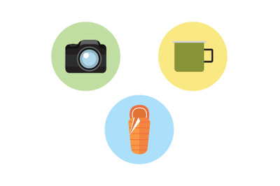 Camping Icon camera Vector Bundle