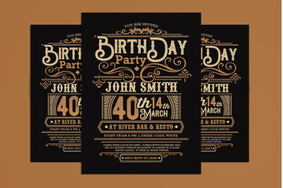 Birthday Invitation Retro Decoration Flyer