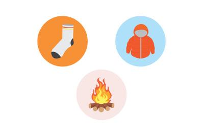 Camping Icon jacket Vector Bundle