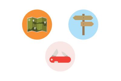 Camping Icon map Vector Bundl
