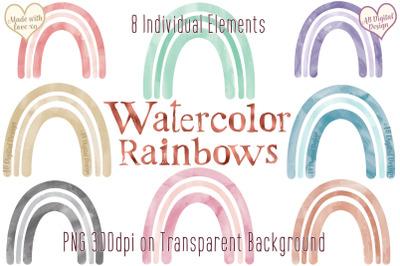 Boho Rainbows Clipart, Watercolor, Baby Nursery, Rainbow PNG