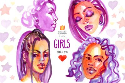 Watercolor fashion afro girls