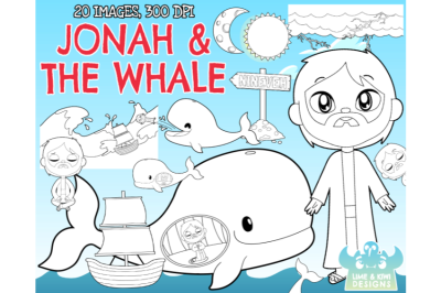 Jonah and the Whale Digital Stamps - Lime and Kiwi Designs