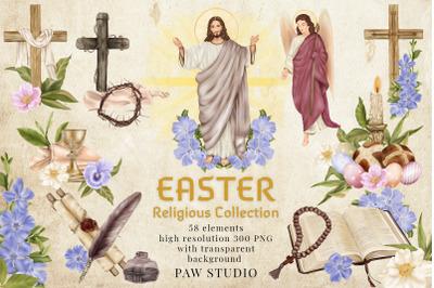 Religious Easter Clipart Jesus Risen Cross Spring Flowers