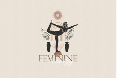 Feminine energy. Silhouettes, desert and space