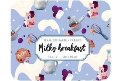 Milky Breakfast - cartoon fabric design - baby digital paper
